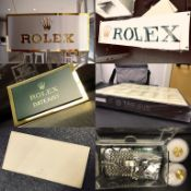 Rolex parts/ paraphernalia & collectable items (+ New TAG Heuer dealer tray)