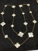 18ct WHITE GOLD MOTHER OF PEARL NECKLACE - VAN CLEEF STYLE