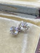 1.01ct DIAMOND SOLITAIRE EARRINGS SET IN 14ct WHITE GOLD