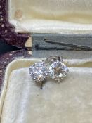 1.02ct DIAMOND SOLITAIRE EARRINGS SET IN 14ct WHITE GOLD