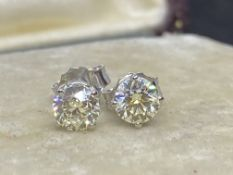 1.36ct DIAMOND SOLITAIRE EARRINGS SET IN 14ct WHITE GOLD