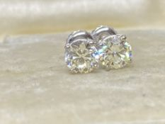 1.40ct DIAMOND SOLITAIRE EARRINGS SET IN 14ct WHITE GOLD