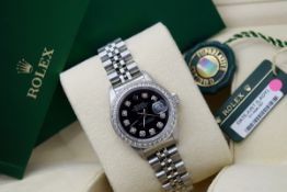 ROLEX DATEJUST (Ladies) - STAINLESS STEEL with a DIAMOND BLACK DIAL
