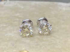 1.66ct DIAMOND SOLITAIRE EARRINGS SET IN 14ct WHITE GOLD