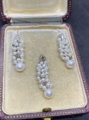 FINE PEARL & DIAMOND EARRINGS WITH MATCHING PENDANT