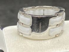 18ct WHITE DIAMOND RING MARKED CHANEL- APPROX 1.00ct OF DIAMONDS