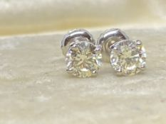 1.20ct DIAMOND SOLITAIRE EARRINGS SET IN 14ct WHITE GOLD