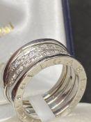 18ct WHITE DIAMOND RING MARKED BVGLARI - APPROX 0.80ct OF DIAMONDS