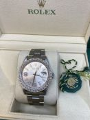 ROLEX STAINLESS STEEL AUTOMATIC WATCH WITH DIAMOND SET DIAL & BEZEL