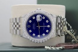 ROLEX STEEL DATEJUST 36' (GENTS) BLUE DIAL WITH BOX