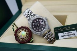 ROLEX LADY DATEJUST - STAINLESS STEEL with a DIAMOND BLACK PEARL DIAL!