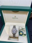 Ladies Stainless Steel Diamond Set Rolex Watch with Box