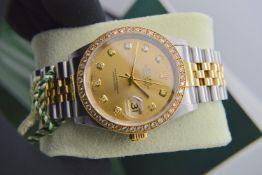 Rolex *Diamond* Datejust 36' 18ct Yellow Gold & Steel 'Jubilee' Model (£16,500 Prestige Valuation)
