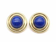 1 Paar Ohrclips aus 585er Gold mit je einem Lapis lazuli. Gewicht: 9,4 g, Durchmesser je: ca. 20,8