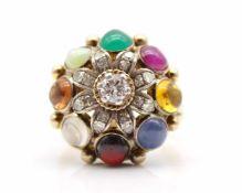 Ring geprüft auf 750er Gold mit einem Brillanten, 0,28 ct, 16 Diamanten im Achtkantschliff, gesamt