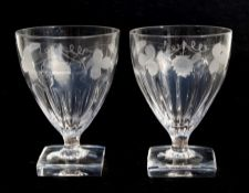 A pair of Georgian ale glasses with engraved wheat and hop decoration, on square bases, 13cm (5 ins)