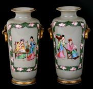A pair of French opaline glass vases decorated in the Chinese manner with figures. 25cm ( 9.75