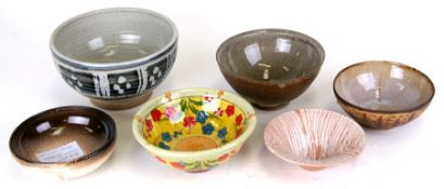 A group of Studio Pottery bowls to include examples by Michael Leach, Leonard James Edgar and Hugh