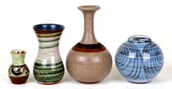Four Studio Pottery vases to include examples by John Solly, Maidstone Pottery and Marcus