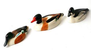 Three Beswick Peter Scott approved birds comprising shell duck, golden eye and shoveller (3).