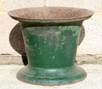 A large George III green painted iron mortar, 38cms (15ins) diameter.