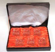 A set of six Webb cut glass whiskey tumblers, boxed