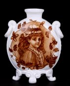 A Derby vase decorated with portrait panels of young girls, 19cms (7.5ins) high.