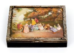 Sterling box with Miniature Painting and Engraving