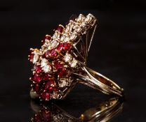 18K White Ruby Diamond Waterfall Ring