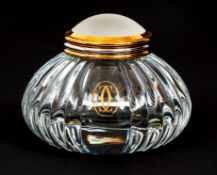 Cartier Encrier crystal Inkwell with frosted lid