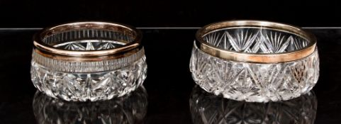 2 Cut Glass Bowls with Sterling Rims