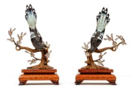2 Chinese Enameled 925 Sterling Heron Figurines