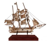 Miniature sterling 3 Masted Sailing Ship