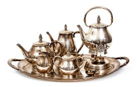 Sterling Silver Royal Danish Tea Set and Tray