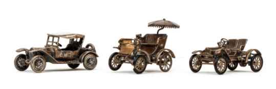 3 miniature Italian 800 silver antique Cars