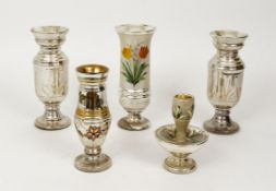 5 Mercury Glass objects with painted decoration