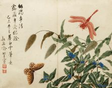 Chinese Watercolor c.1820 Butterfly Dragonfly