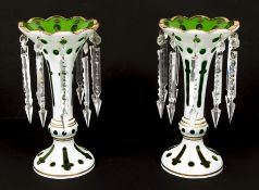 Pair Bohemian Art Glass Emerald Cut to Clear Milk Vases