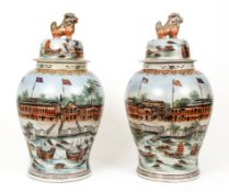 Pair Chinese Export Trade Porcelain Vases