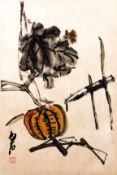 20th C. Chinese Scroll ptg. Squash and Grasshopper