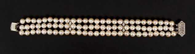 Cultured Pearl and Diamond Triple Strand Bracelet