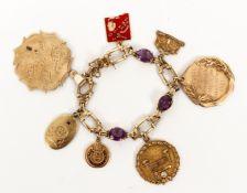 Unique 14K Gold and Amethyst Charm Bracelet Emory Univ