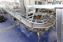 "(2017) Stainless Steel Conveyor, 27' x 8"", Multiple Radiuses, Flex Link Plastic Chain, w/ (2) SEW"