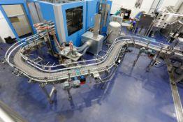 "(2017) Stainless Steel Conveyor, 23' x 8"", Multiple Radiuses, Flex Link Plastic Chain, w/ (2) SEW"