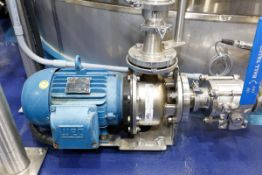 (2017) EBARA Model 3U-50-125NB-184JM Stainless Steel Centrifugal Pump with WEG 7.5HP Drive Motor,