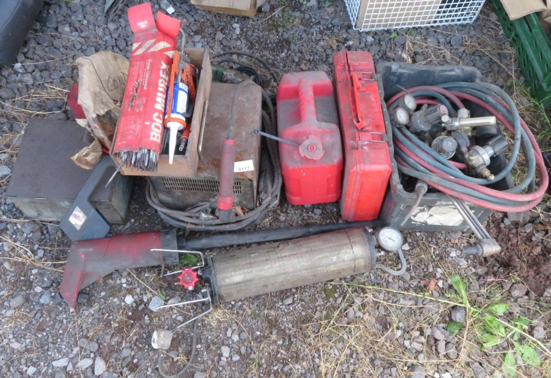 Lot 111 - Mixed lot of Oxy-acetylene torch guages & tubing, electric welder, 2 pumps, large drill etc