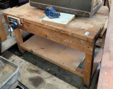 WOODEN WORKSHOP BENCH WITH 2 VICES