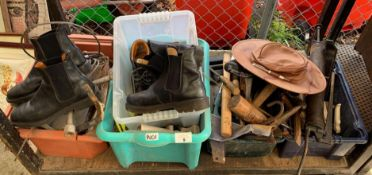 QUANTITY OF TOOLS, WORK BOOTS, LEATHER HAT ETC