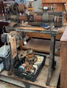 VINTAGE METAL WORK LATHE MADE BY DRUMMOND BROTHERS LTD, WITH SPARES IN CRATE