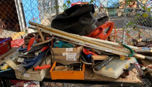 VARIOUS TOOLS INCLUDING G CLAMPS, STANLEY 4.5 WOOD PLANE, ELECTRIC LEAF BLOWER ETC